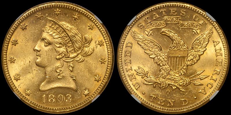 1893-O $10.00 NGC MS63