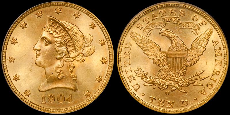 1904-O $10.00 PCGS MS65
