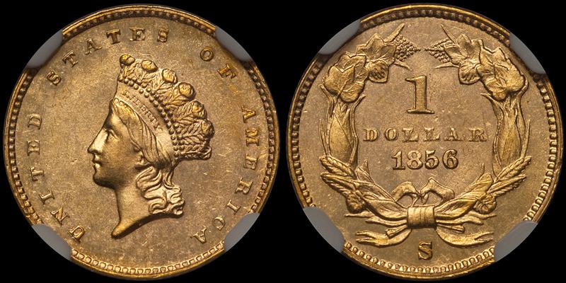 1856-S $1.00 NGC MS64 CAC