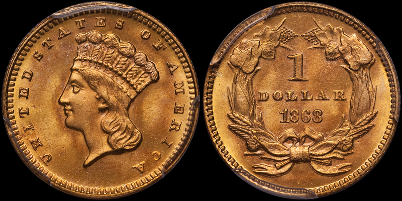 1868 $1.00 PCGS MS67 CAC