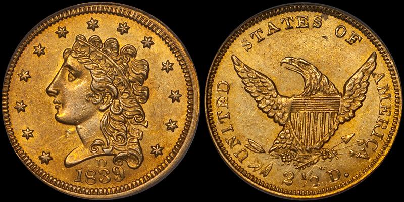 1839-D $2.50 PCGS MS62