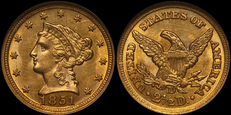 1851-D $2.50 NGC MS65
