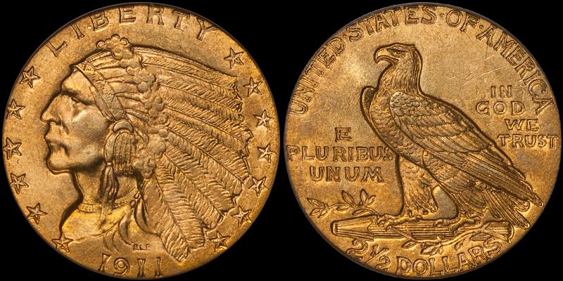 1911 $2.50 PCGS MS65 CAC