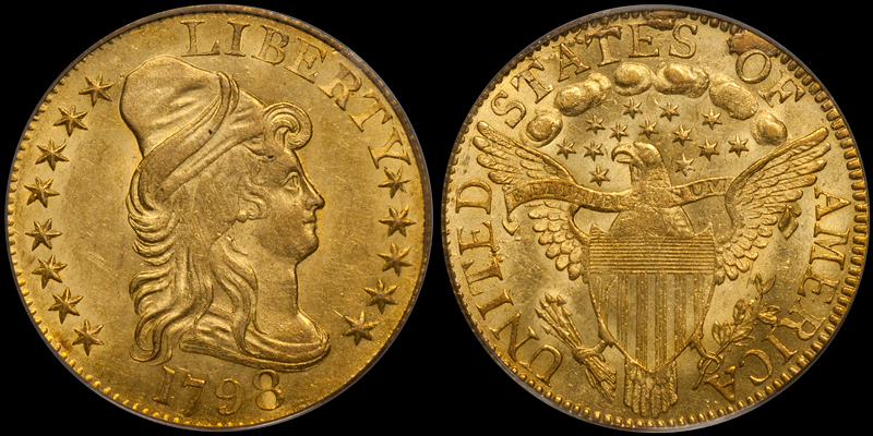 1798 Large 8, 13 Stars $5.00 PCGS MS62 CAC