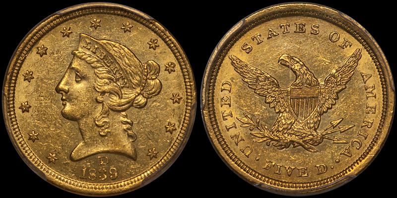 1839-D $5.00 PCGS AU58