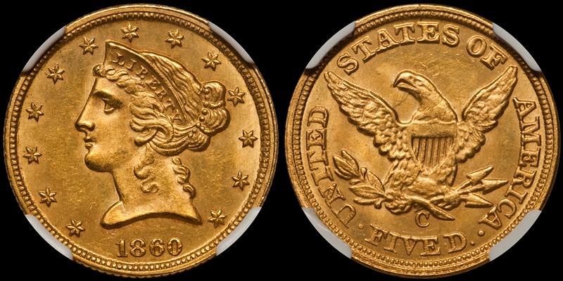 1860-C $5.00 NGC MS64 CAC