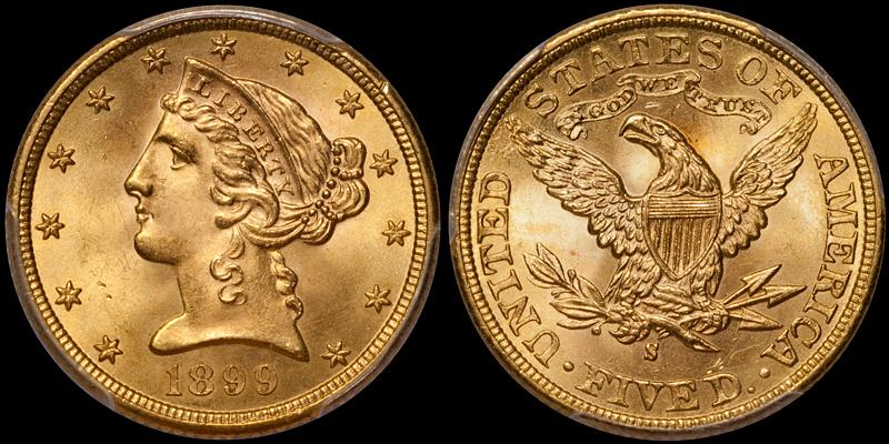 1899-S $5.00 PCGS MS65 CAC