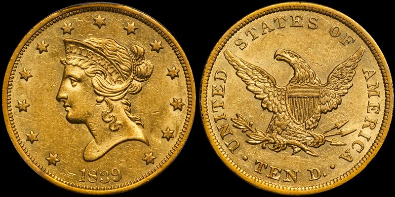 1839/8 $10.00 PCGS AU58
