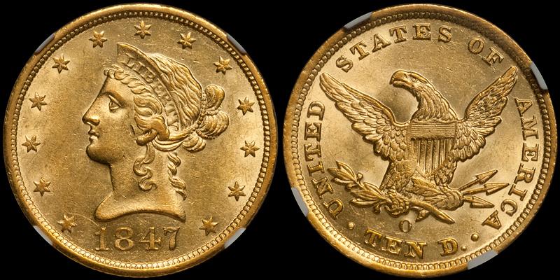 1847-O $10.00 NGC MS61