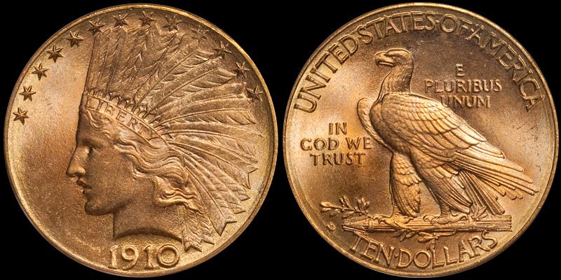 1910-D $10.00 PCGS MS66 CAC