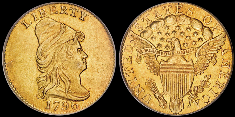 1796 $2.50 No Stars Obverse, courtesy of PCGS CoinFacts