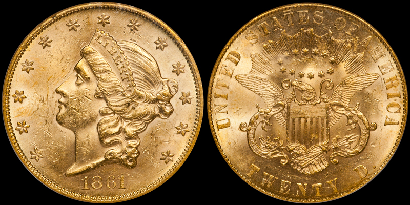 one of two 1861 Paquet double eagles, graded PCGS MS61