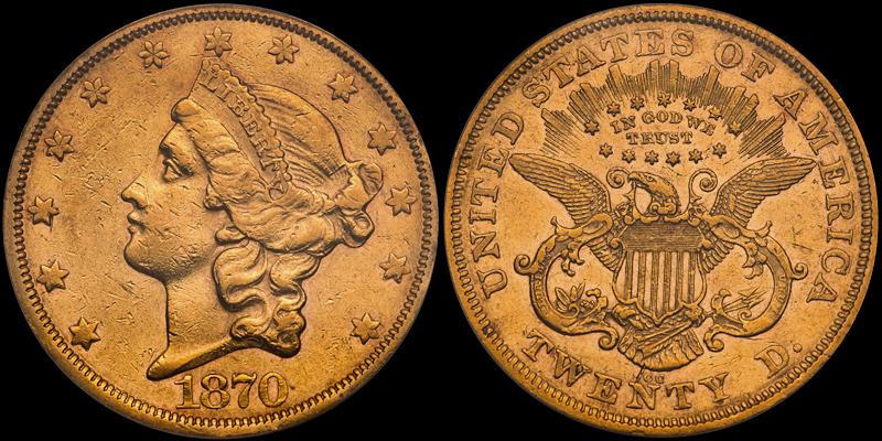 1870-CC $20.00 PCGS EF45