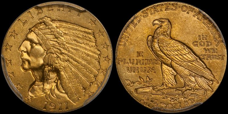 1911-D $2.50 PCGS MS64+ CAC