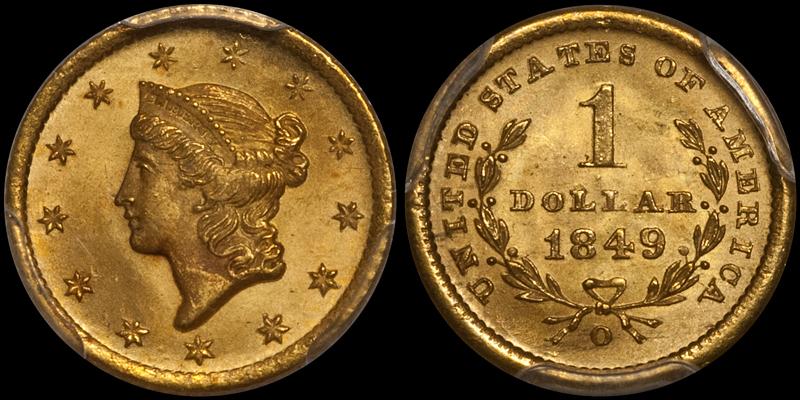 1849-O $1.00 PCGS MS65+