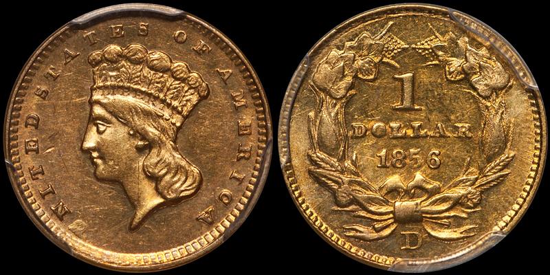 1856-D $1.00 PCGS MS60 CAC
