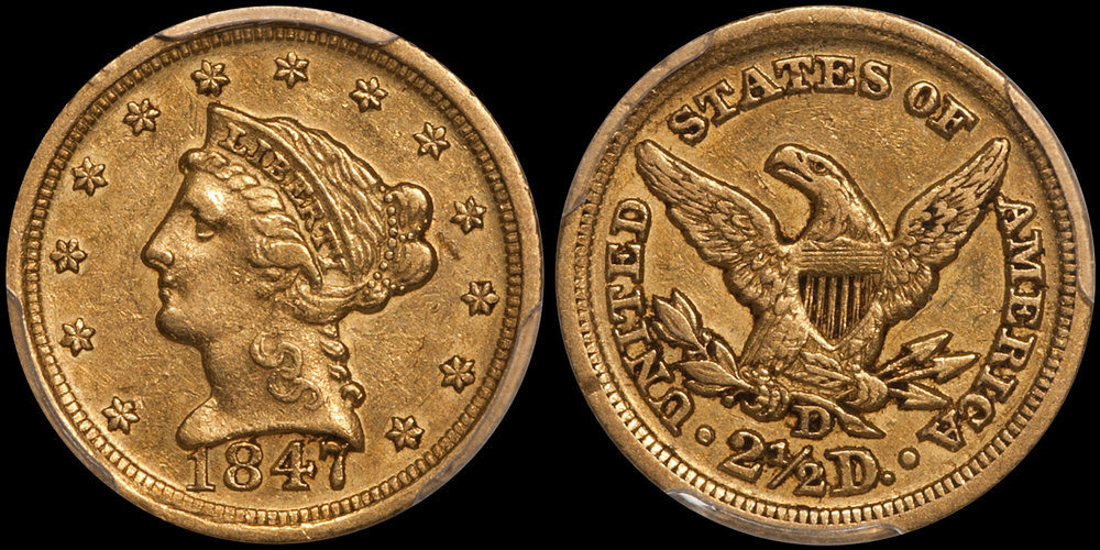 1847-D $2.50 PCGS EF45 CAC