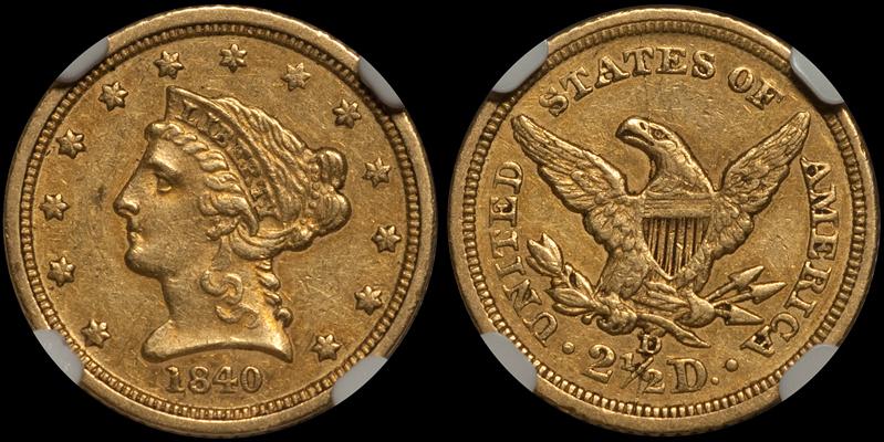 1840-D $2.50 NGC AU55 CAC