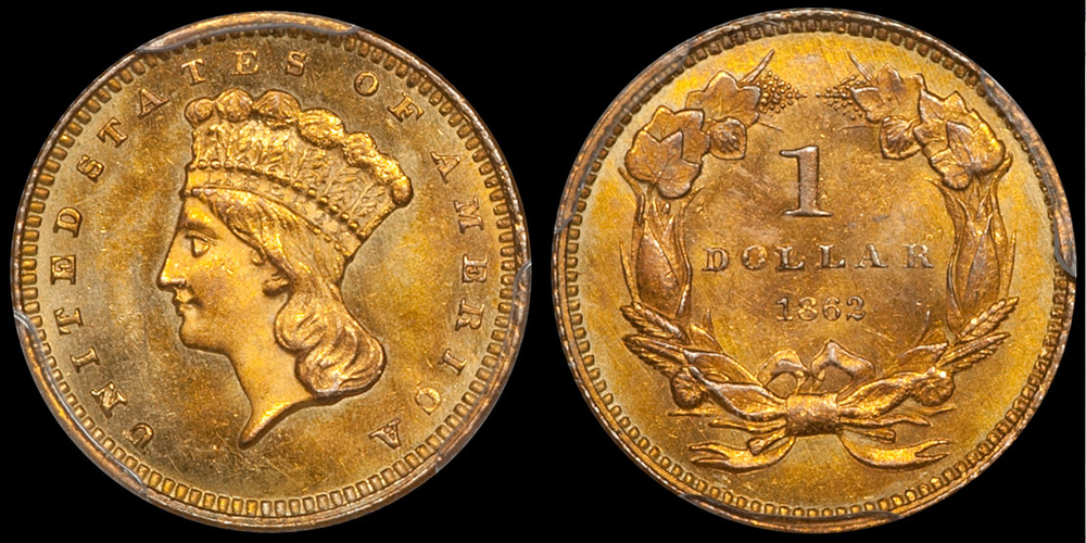 1862 $1.00 PCGS MS66 CAC