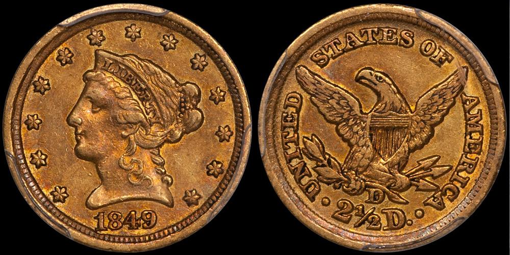1849-D $2.50 PCGS AU50 CAC