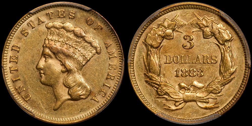 1883 $3.00 PCGS AU58
