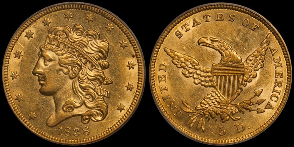 1838 $5.00 PCGS AU58 CAC