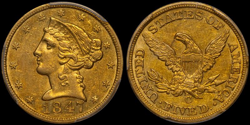 1847-C $5.00 PCGS AU53 CAC