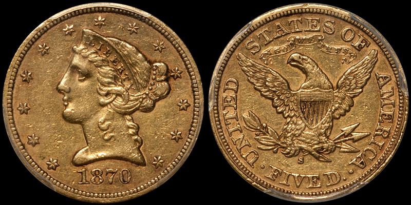 1870-S $5.00 PCGS EF45 CAC