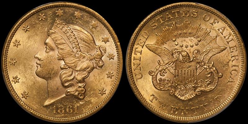 1861 $20.00 PCGS MS61