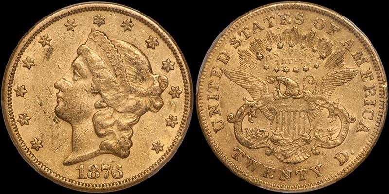 1876-CC $20.00 PCGS EF45 CAC