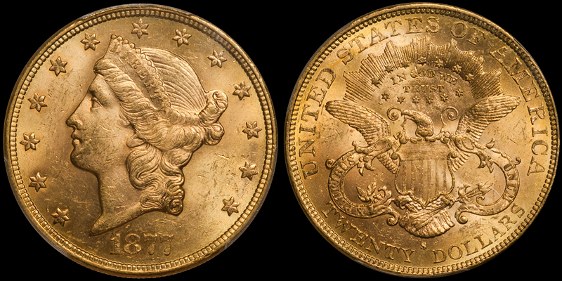 1877-S $20.00 PCGS MS62 CAC