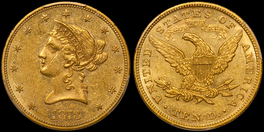 1873 Closed 3 $10.00 PCGS AU53