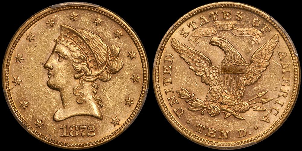 1872 $10.00 PCGS AU58 CAC