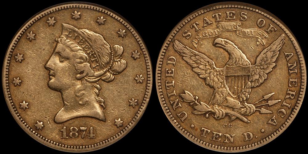 1874-CC $10.00 NGC EF45