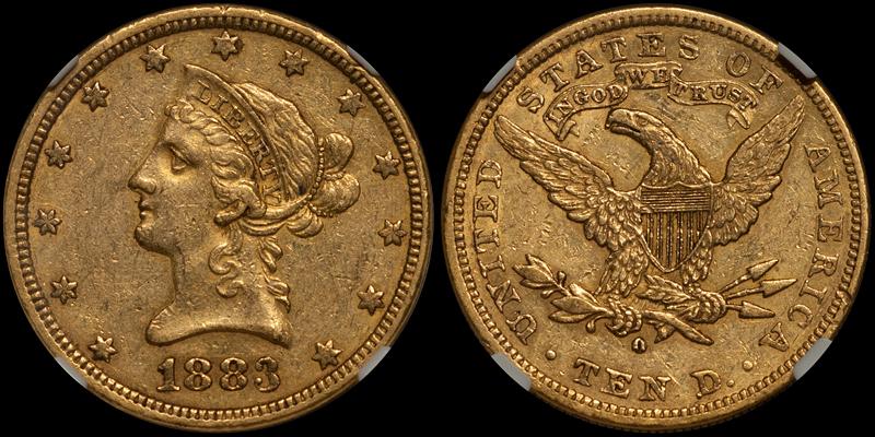 1883-O $10.00 NGC AU53