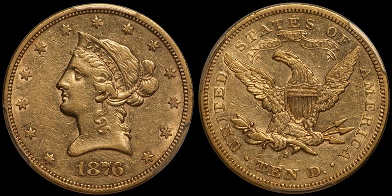 1876-S $10.00 PCGS AU50 CAC