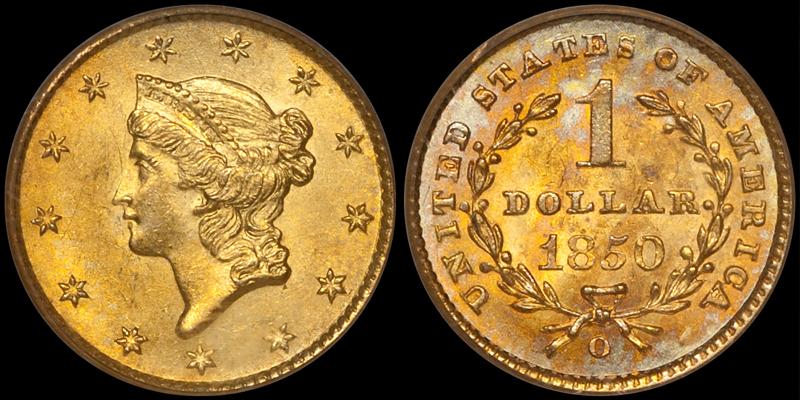 1850-O $1.00 PCGS MS64