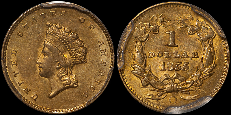 1855-O $1.00 PCGS MS64 CAC