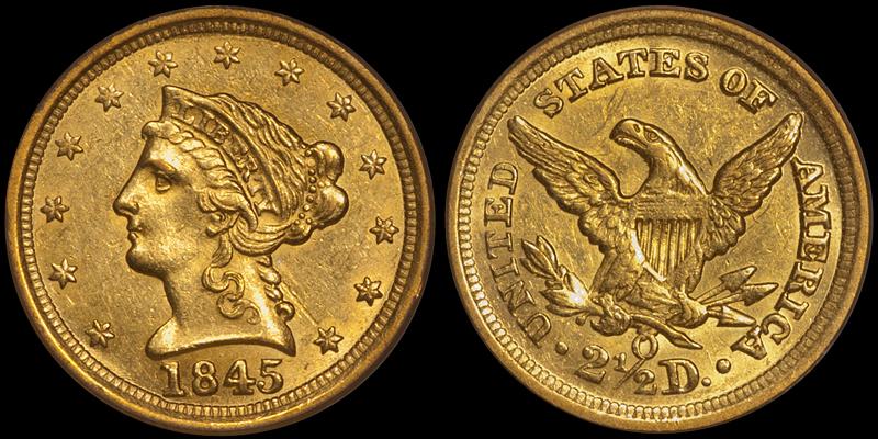 1845-O $2.50 PCGS AU58 CAC, OGH