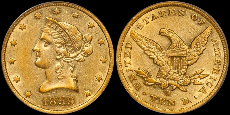 1859-O $10.00 PCGS AU55