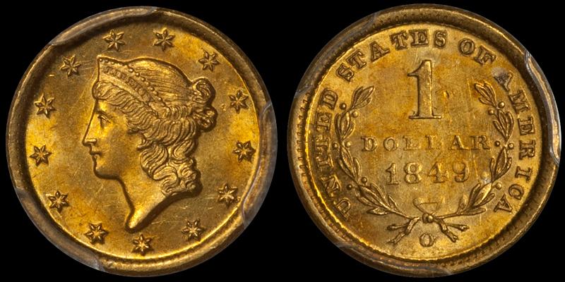 1849-O $1.00 PCGS MS62+ CAC