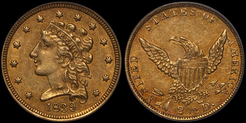 1839 $2.50 PCGS AU55 CAC