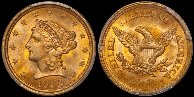 1853 $2.50 PCGS MS64+ CAC