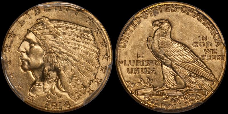 1914-D $2.50 PCGS MS64 CAC