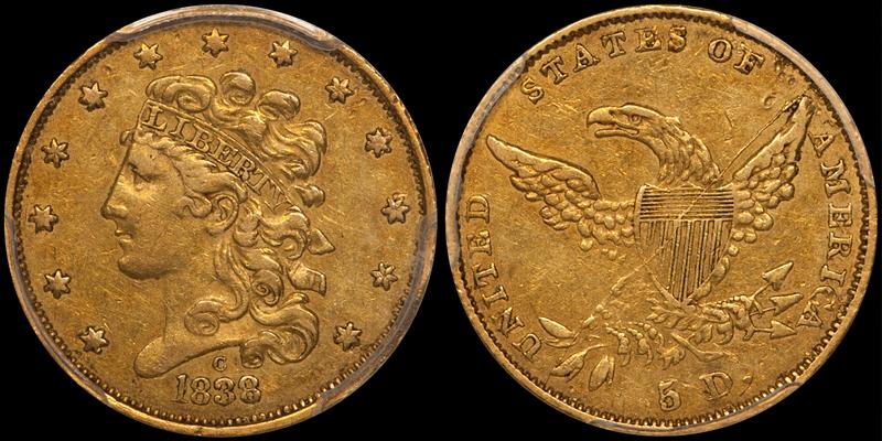 1838-C $5.00 PCGS EF45 CAC
