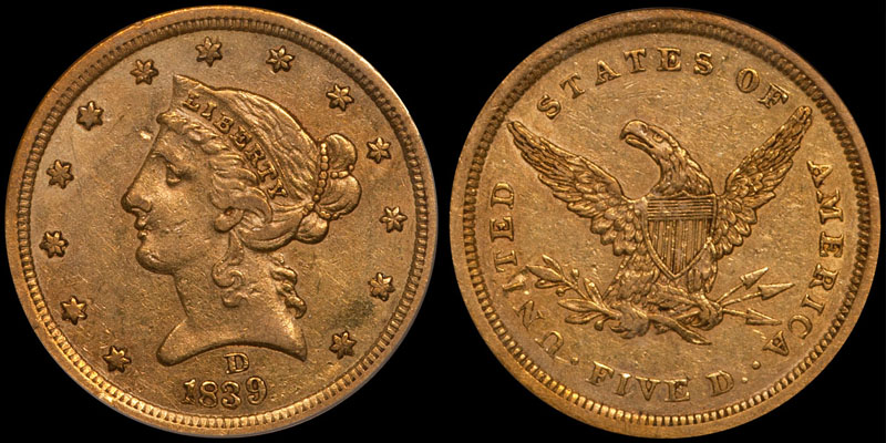 1839-D $5.00 PCGS EF45