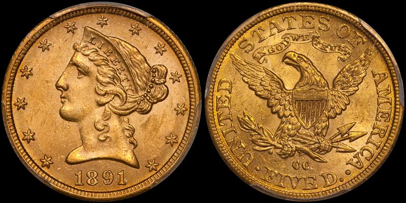 1891-CC $5.00 PCGS MS63 CAC