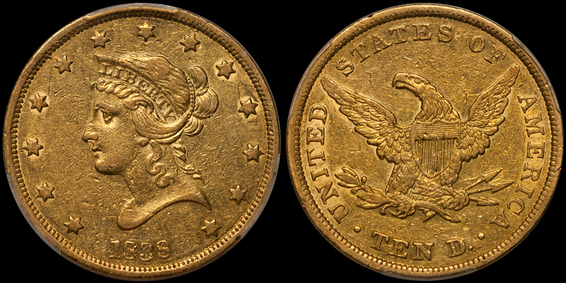 1838 $10.00 PCGS AU50