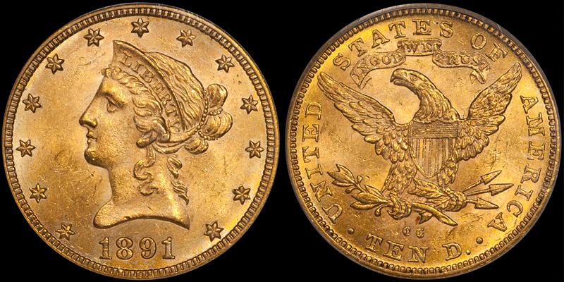 1891-CC $10.00 PCGS MS63 CAC