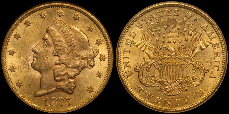 1875-CC $20.00 PCGS MS61 CAC